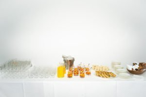 White Cube, publicity refreshments table