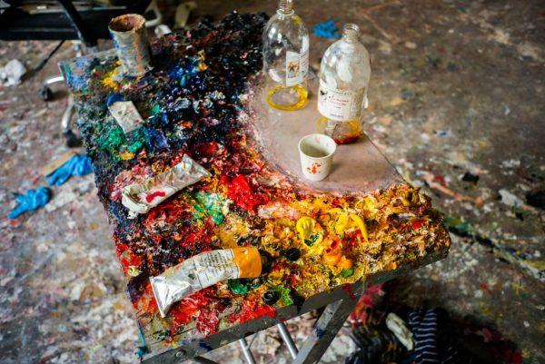 Chantal Joffe's palette, photographed by Alex Schneideman, 2019